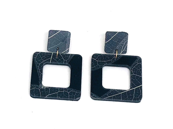 Fossil Leaf Black Resin Square Earring