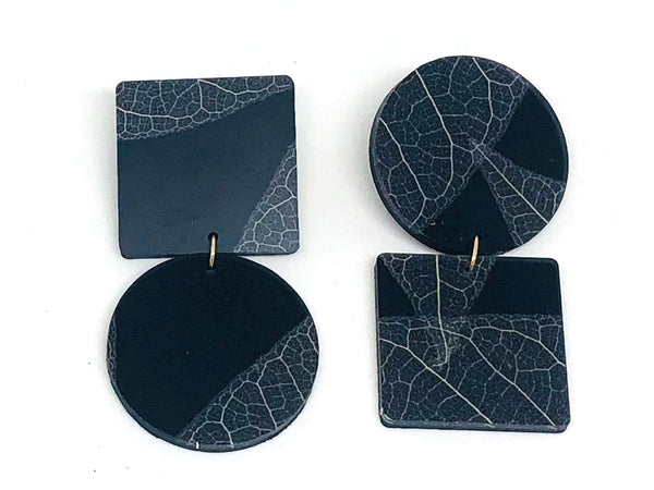 Fossil Leaf Black Resin Square-Circle Large  Earring