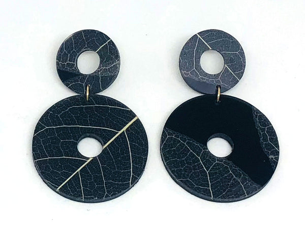Fossil Leaf Black Resin  Double Circle Large  Earring