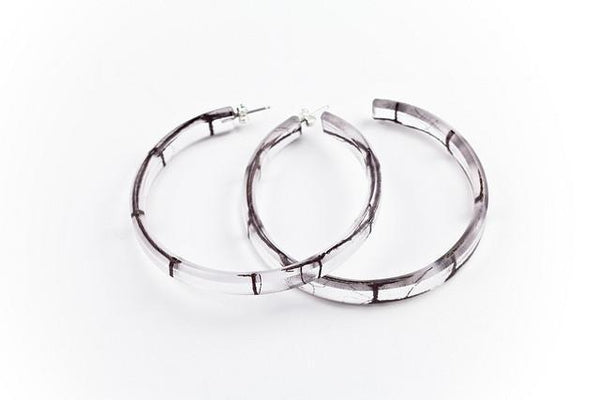 Lasso Coal Hoop Earrings - Large