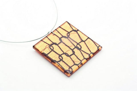 Lasso Coal Copper Necklace - Lrg Square
