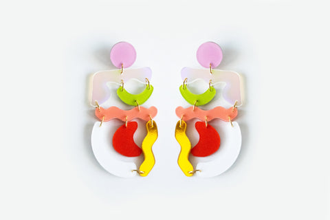 Rainbow Squiggle Mania Earrings
