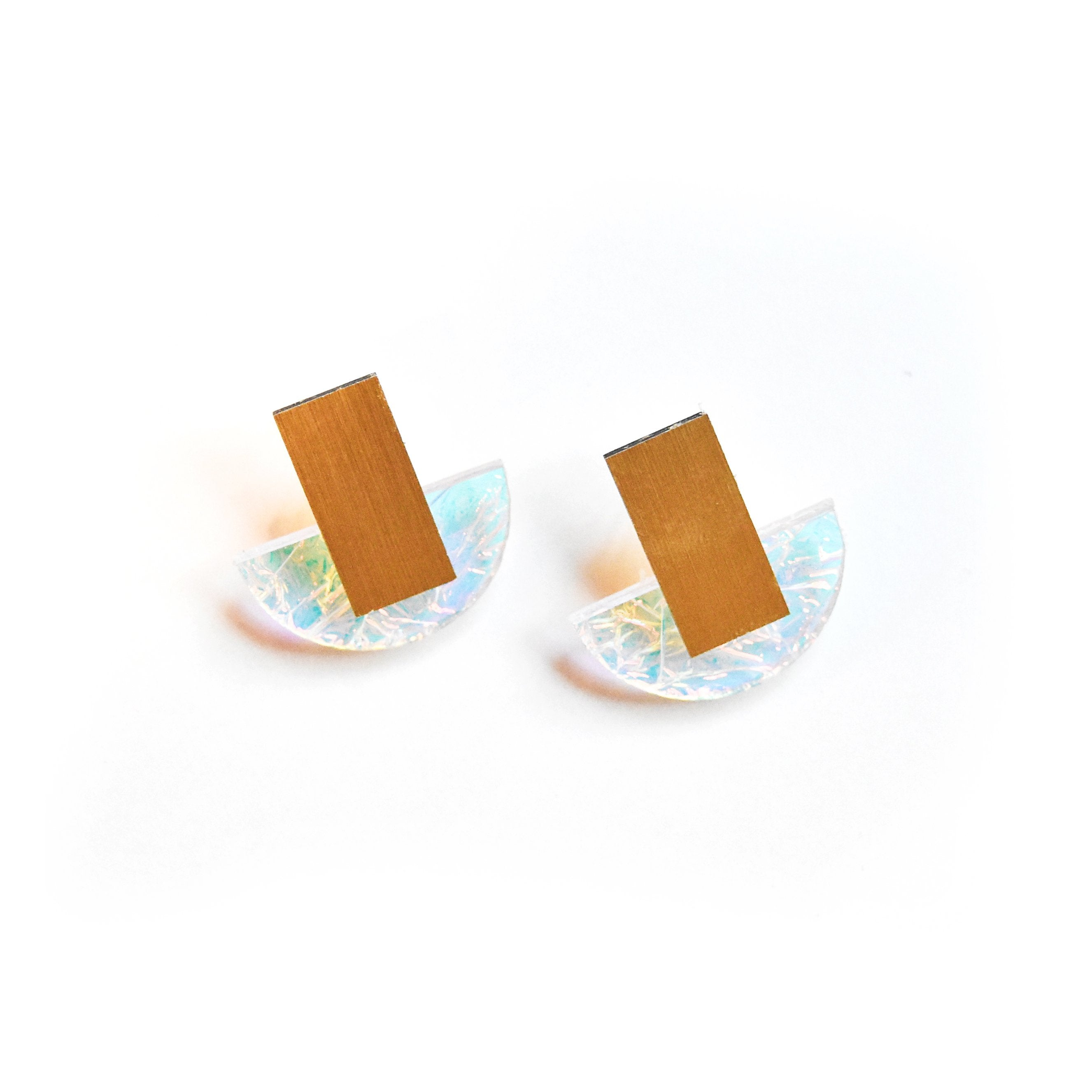 Ecoresin Earrings - Arc Stud