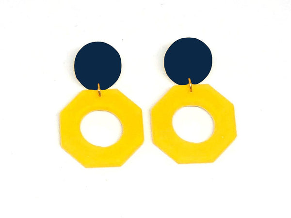 Ecoresin Earrings - Octagon - Small
