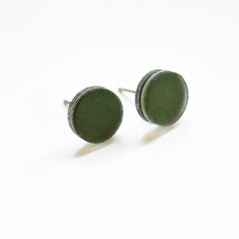 Moss Stud Earrings - Circle