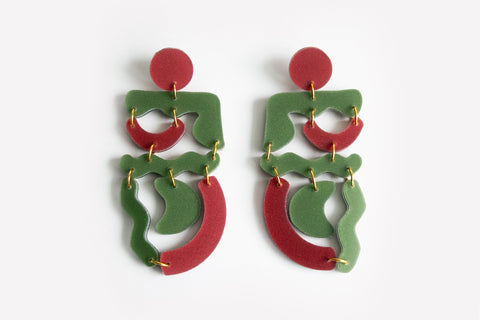 Moss Merlot Squiggle Mania Earrings