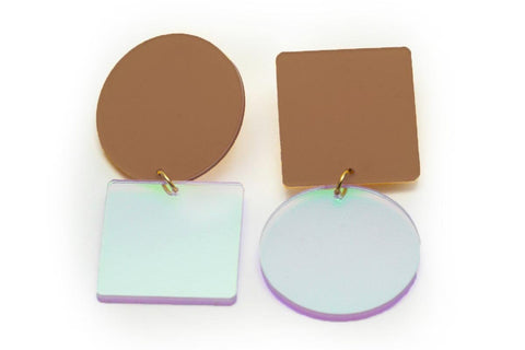 Nude Earrings - Asymetric Large - Solar