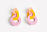 Peach Mellow Lilac Earrings - Triple Link
