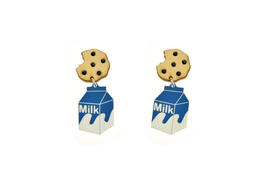 MILK AND COOKIE DANGLE EARRINGS