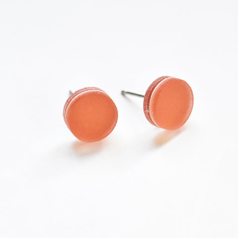 Peach Stud Earrings - Circle