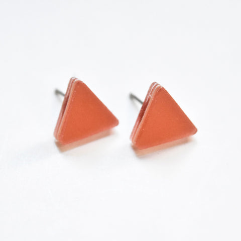 Peach Stud Earrings - Triangle