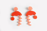 Peach Punch Squiggle Storm Earrings