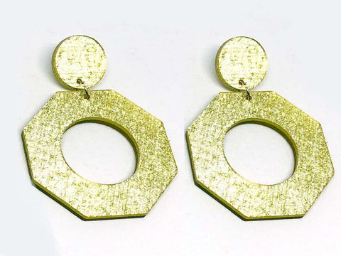 Pure Gold Ecoresin Earrings - Octagon - Large
