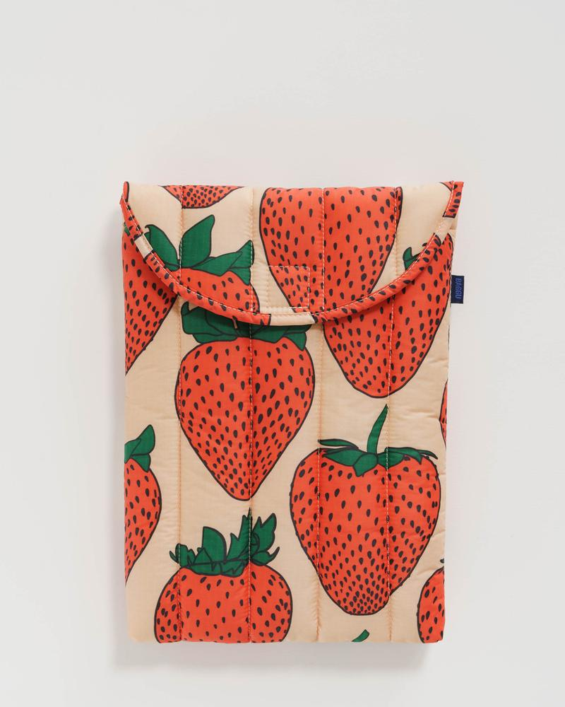 baggu Blue Strawberry -Puffy Laptop Sleeve 13""