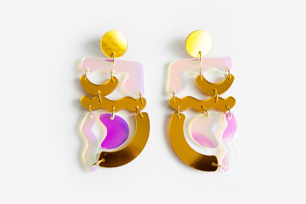 Reflect Gold Solar Squiggle Mania Earrings