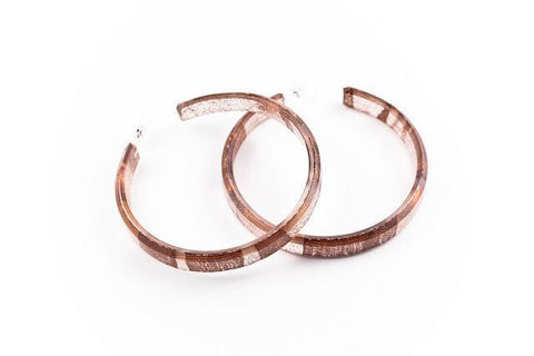 Swept Copper Hoop Earrings - Large