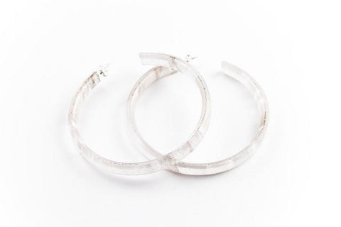 Swept Silver Hoop Earrings - Large