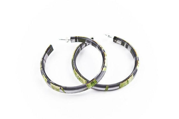 Seaweed Black Hoop Earrings - Large