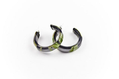 Seaweed Black Hoop Earrings - Small
