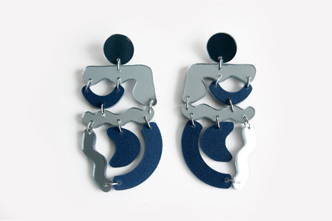 Wizard Reflect Silver Squiggle Mania Earrings