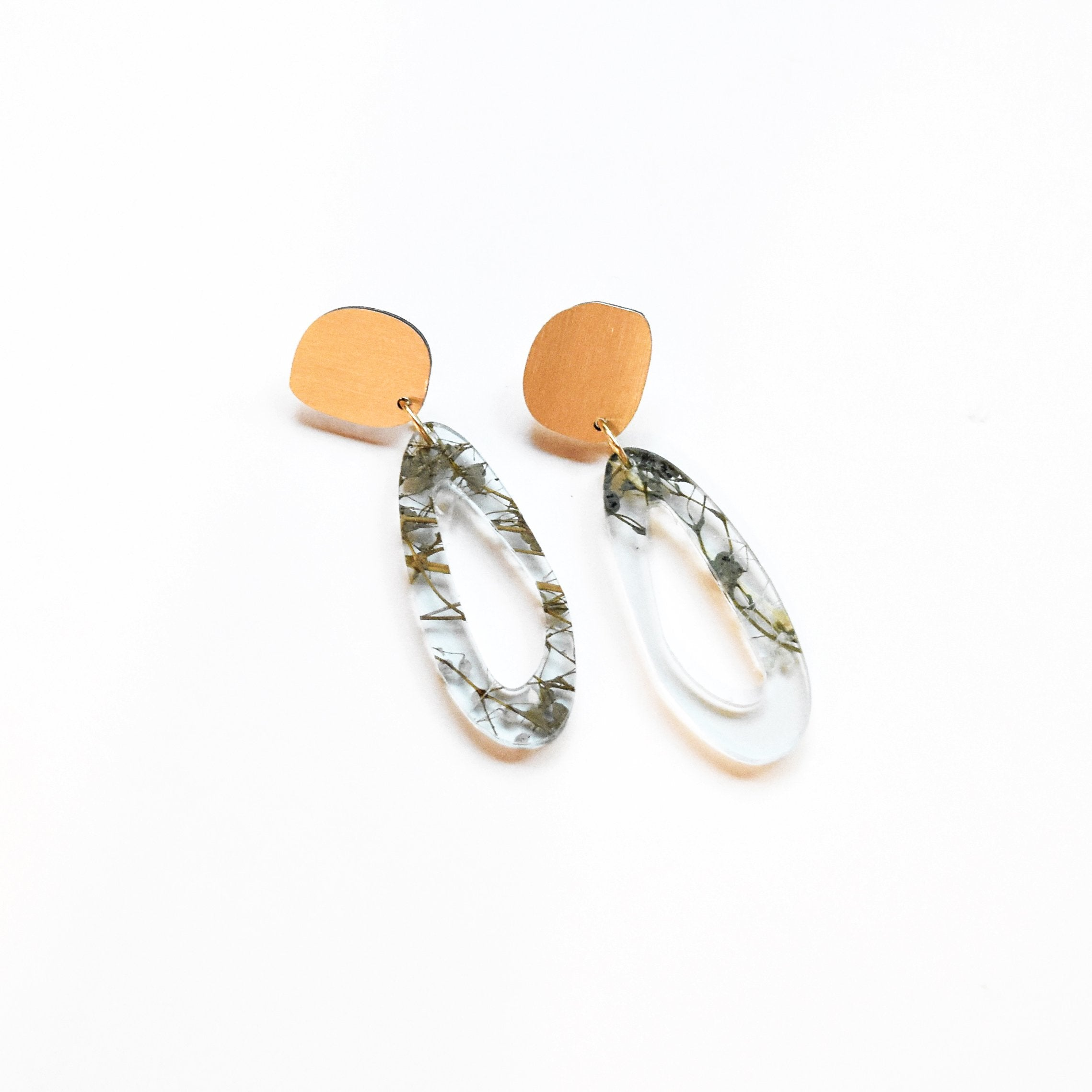 Ecoresin Earrings - Fluid Oval Drop