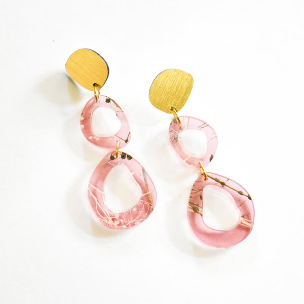 Whisper Rose Earrings - Fluid Double Drop
