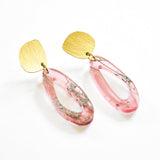 Whisper Rose Earrings - Fluid Oval Drop