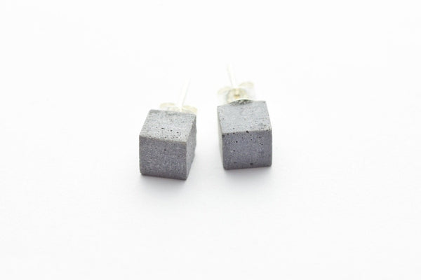 Cement Earrings - Small Square Stud
