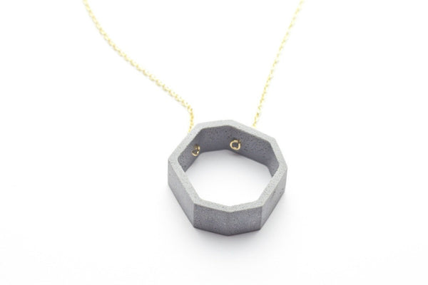Cement Outline Necklace - Octagon