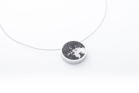 Concrete Aluminum Necklace - Circle - Medium - Silver