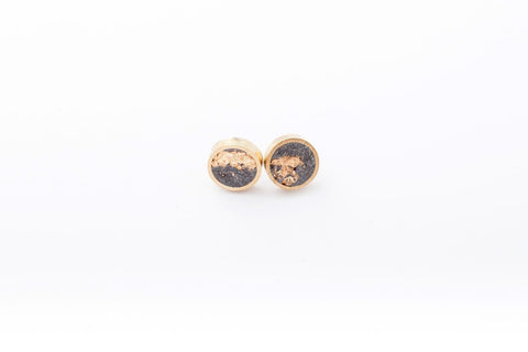 Concrete Brass Earrings - Small Stud - Gold