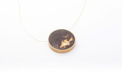 Concrete Brass Necklace - Large - Gold