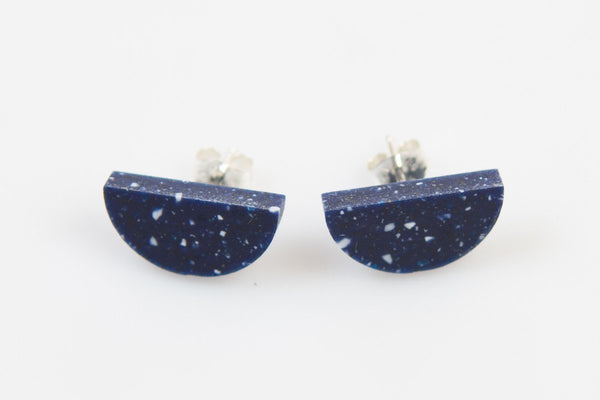 Corian Half Circle Earrings  - Cobalt