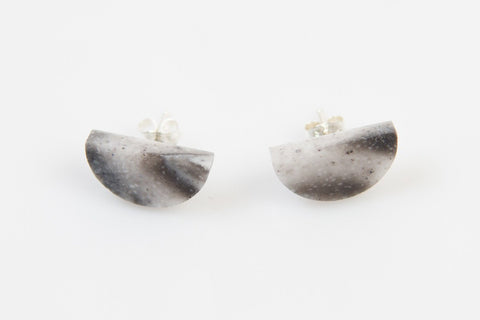 Corian Half Circle Earrings  - Marble