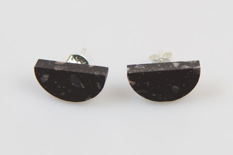 Corian Half Circle Earrings  - Midnight