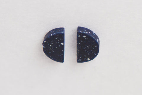 Corian Half Circle Vertical Earrings  - Cobalt