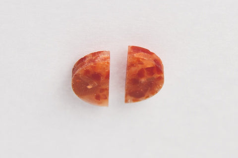 Corian Half Circle Vertical Earrings  - Lava