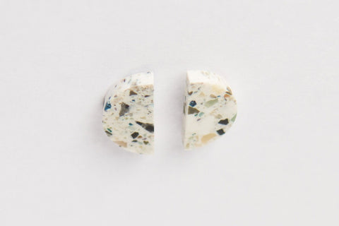 Corian Half Circle Vertical Earrings  - Terrazzo