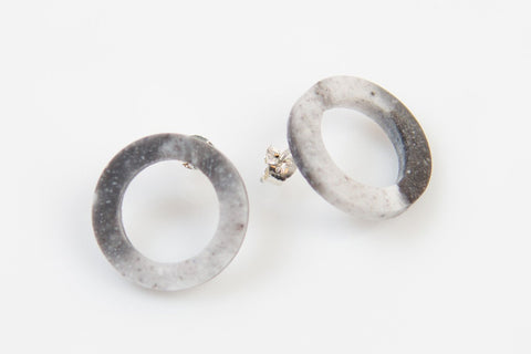 Corian Open Circle Earrings - Marble