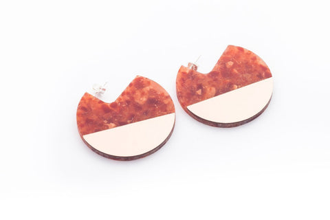 Corian Segment Earrings  - Lava