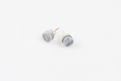 Corian Small Stud Circle Earrings - Marble