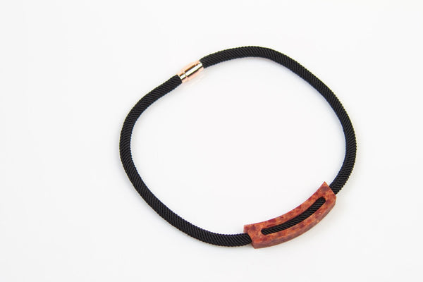 Corian Rope Arc Necklace - Black - Lava