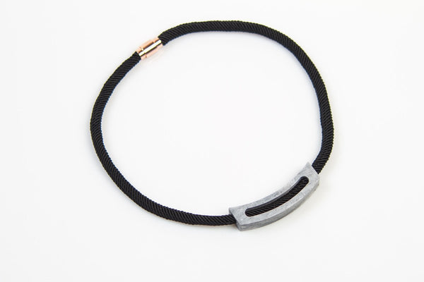 Corian Rope Arc Necklace - Black - Marble
