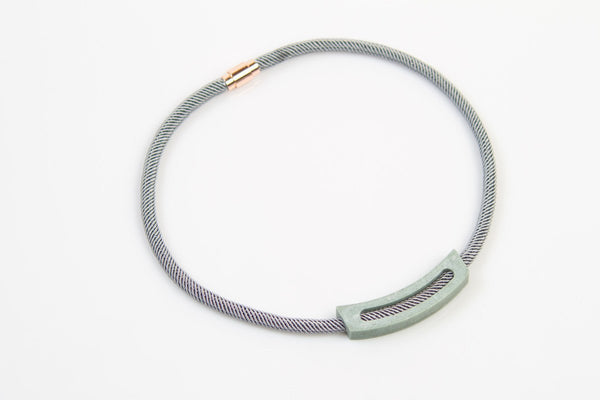 Corian Rope Arc Necklace - Gray - Jade