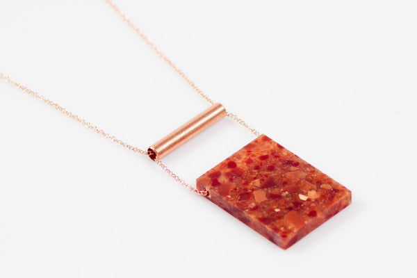 Corian Rectangle Necklace  - Lava
