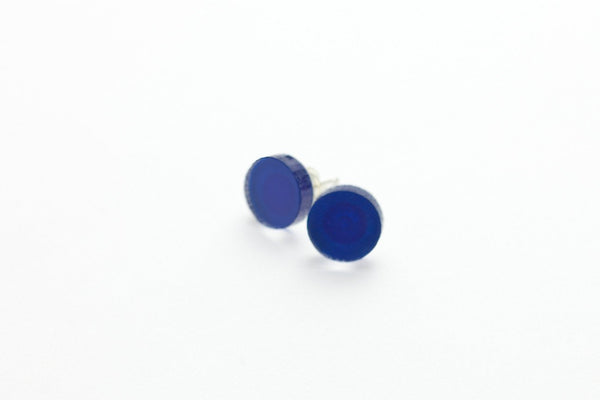 Cobalt Stud Earrings - Circle