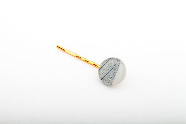 Fossil Leaf White Bobby Pin