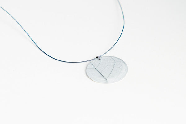 Fossil Leaf White Necklace - Circle