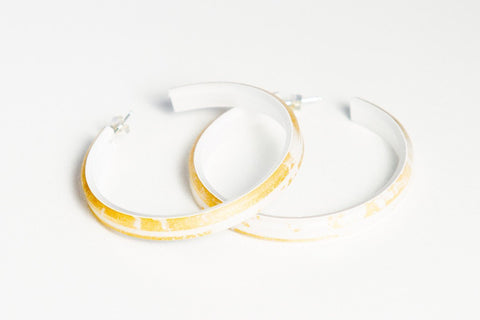 Gild Gold White Hoop Earrings - Large