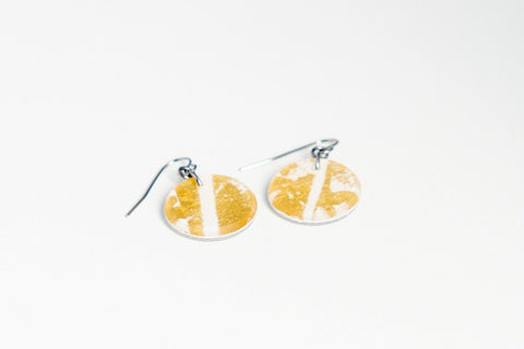 Gild Gold White Earrings - Circle